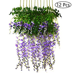 Bird Fiy 3.6 Feet Artificial Flowers Fake Wisteria Vine Hanging Flower Garland for Wedding Party Home Garden Wall Decor/12 Pieces White 27
