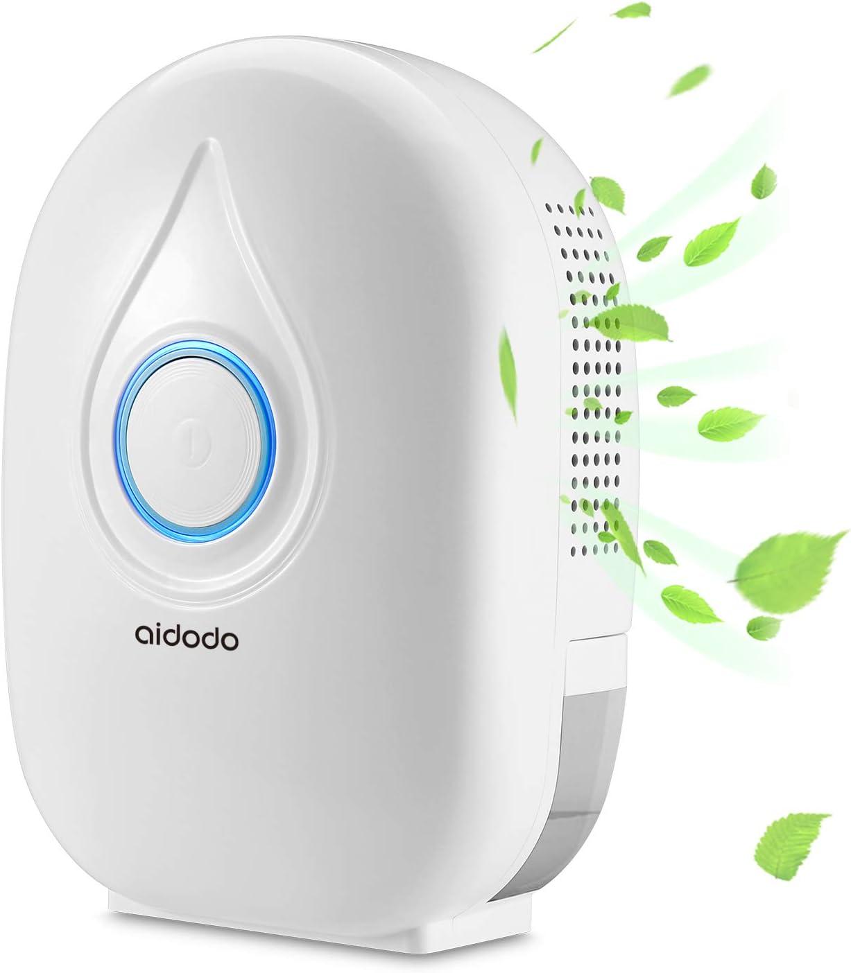 Aidodo Deshumidificador electrico Portátil 500ml Mini silencioso Deshumidificadores de Aire Compacto Inteligente Perfecto para Hogar Salón Habitación Oficina Blanco