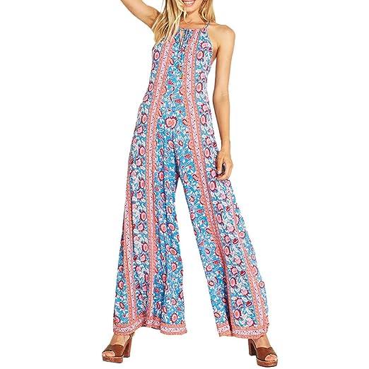 385bc08dc2c6 Amazon.com  Harem Jumpsuit Romper Bohemian Boho Loose Relax Fit Tie Dye  Handkerchief Jumpsuits Long Summer Casual Playsuit  Clothing