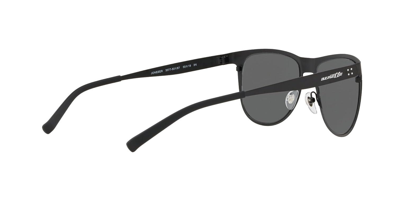 Arnette Mens Joneser Polarized Oval Sunglasses matte gunmetal 55.0 mm 0AN3077