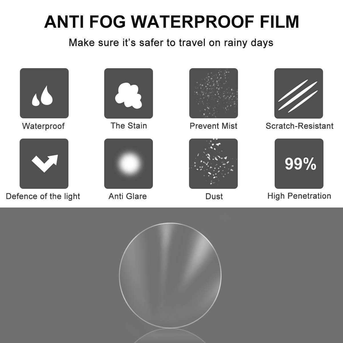 Pefsws 4 Pcs Car Rainproof Rearview Mirror Protective Film, Waterproof Membrane Window Clear Anti-Fog Anti-Glare Anti-Scratch Protective Film Rain Shield Nano Coating for All Universal Vehicles Cars