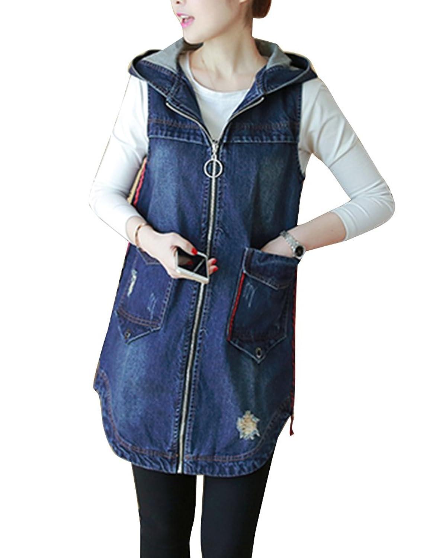 100% authentic 6626b 4de88 zum Verkauf Runyue Damen Beiläufig Lang Ärmellos Jeansweste ...