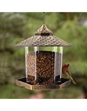 Twinkle Star Wild Bird Feeder Hanging for Garden Yard Outside Decoration, Hexagon Shaped with Roof