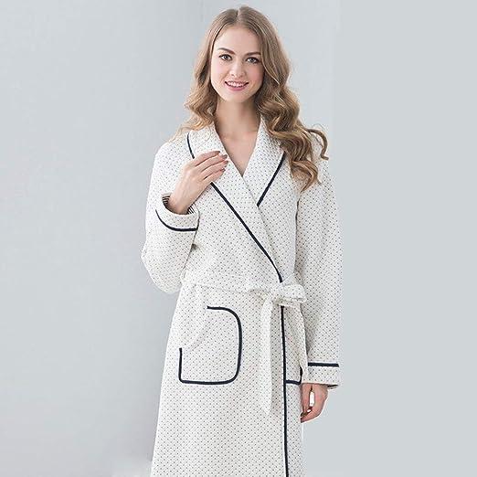 HXGpajamas Batas De Mujer Batas Ligeras De Algodón Bata De Vellón Longitud Media Kimono Albornoz Ropa De Dormir Loungewear Cómodo (Size : Ms-L): Amazon.es: Hogar