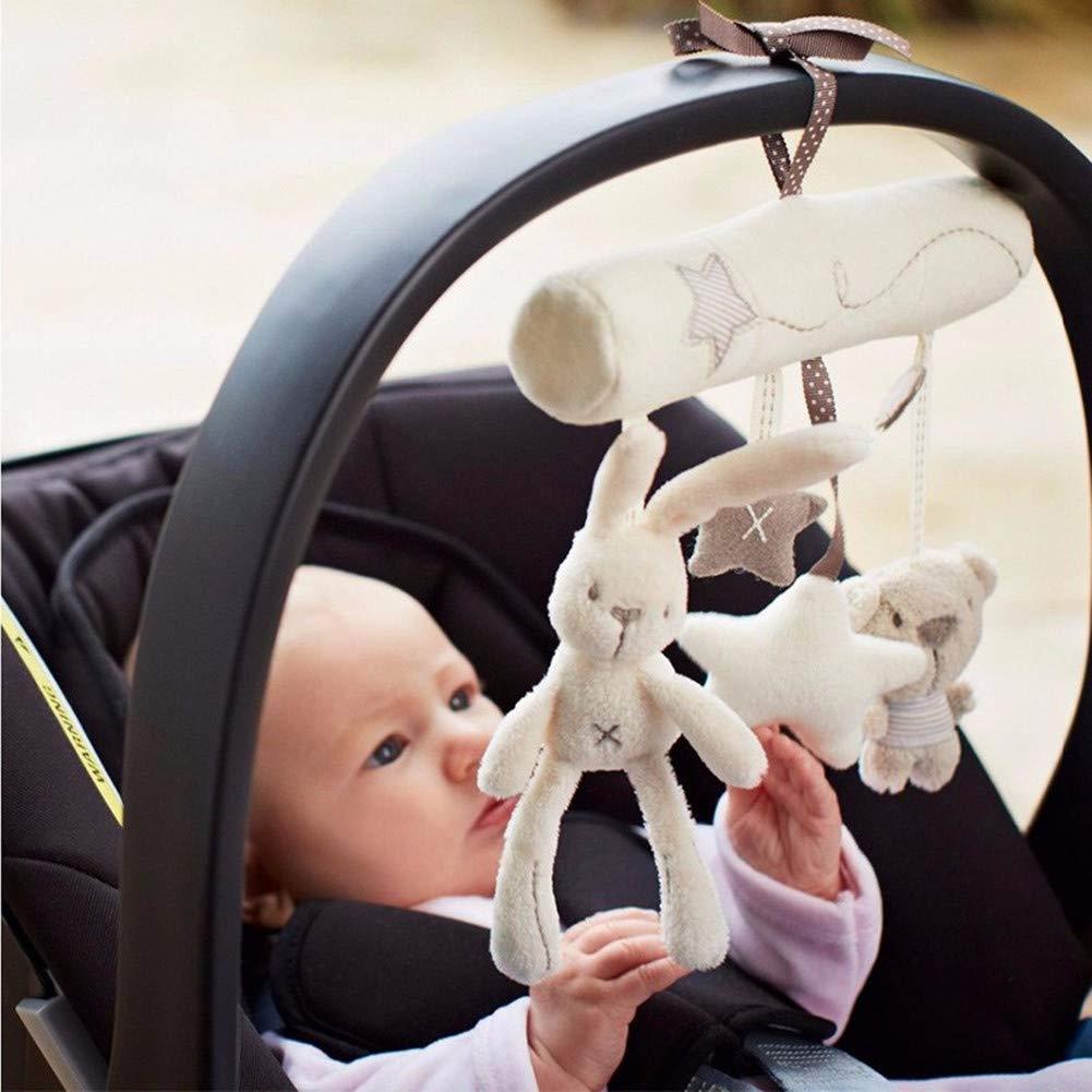 Stangent Musical Crib Stroller Rabbit Star Shape Cotton Rattles Toys Baby Crib Rotating Lovely Baby Bed Hanging Doll Bell Holder Pop Toy Gift