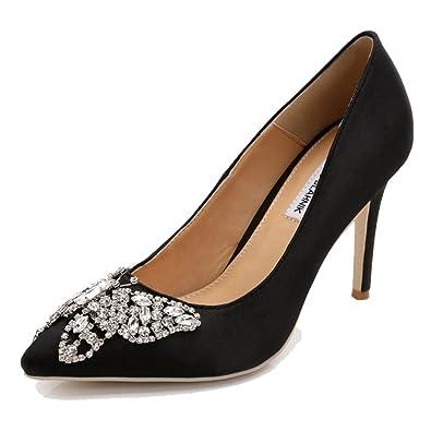defa1aaa984 SHOWHOW Women s Elegant Rhinestones Pumps - Closed Pointed Toe - High Heels  for Wedding Black 4