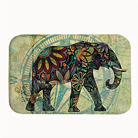 Poppylife Retro Flowers and Diamond Elephant Bath Mat Door Mats Rugs For Bathroom/Kitchen/Workstations Decor Mat 20
