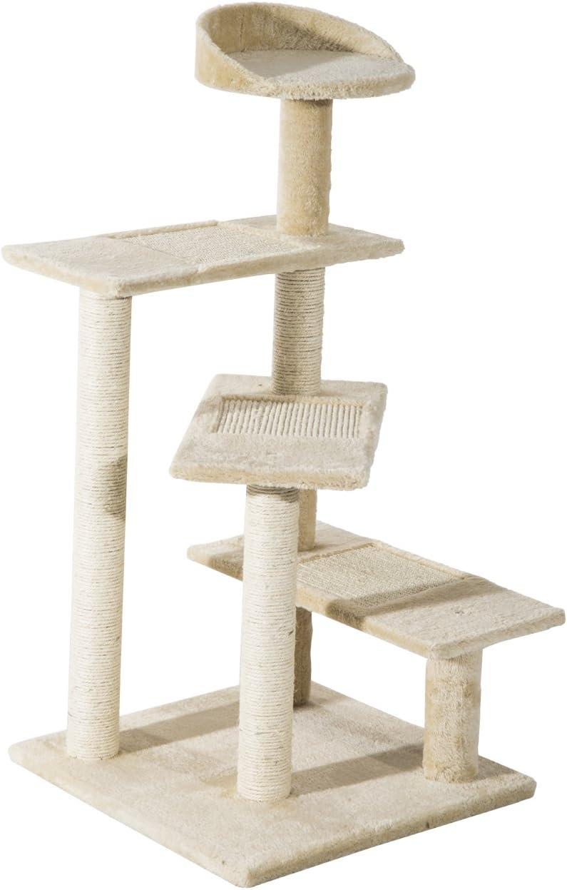 PawHut Árbol para Gato Rascador Poste para Arañar con Cama Plataforma con Manta de Sisal 50x50x100cm Terciopelo Beige
