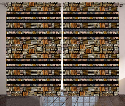 """Ambesonne African Curtains, Traditional Hand Drawn Pattern in Grunge Style Striped Design Print, Living Room Bedroom Window Drapes 2 Panel Set, 108"""" X 108"""", Pale Orange"""
