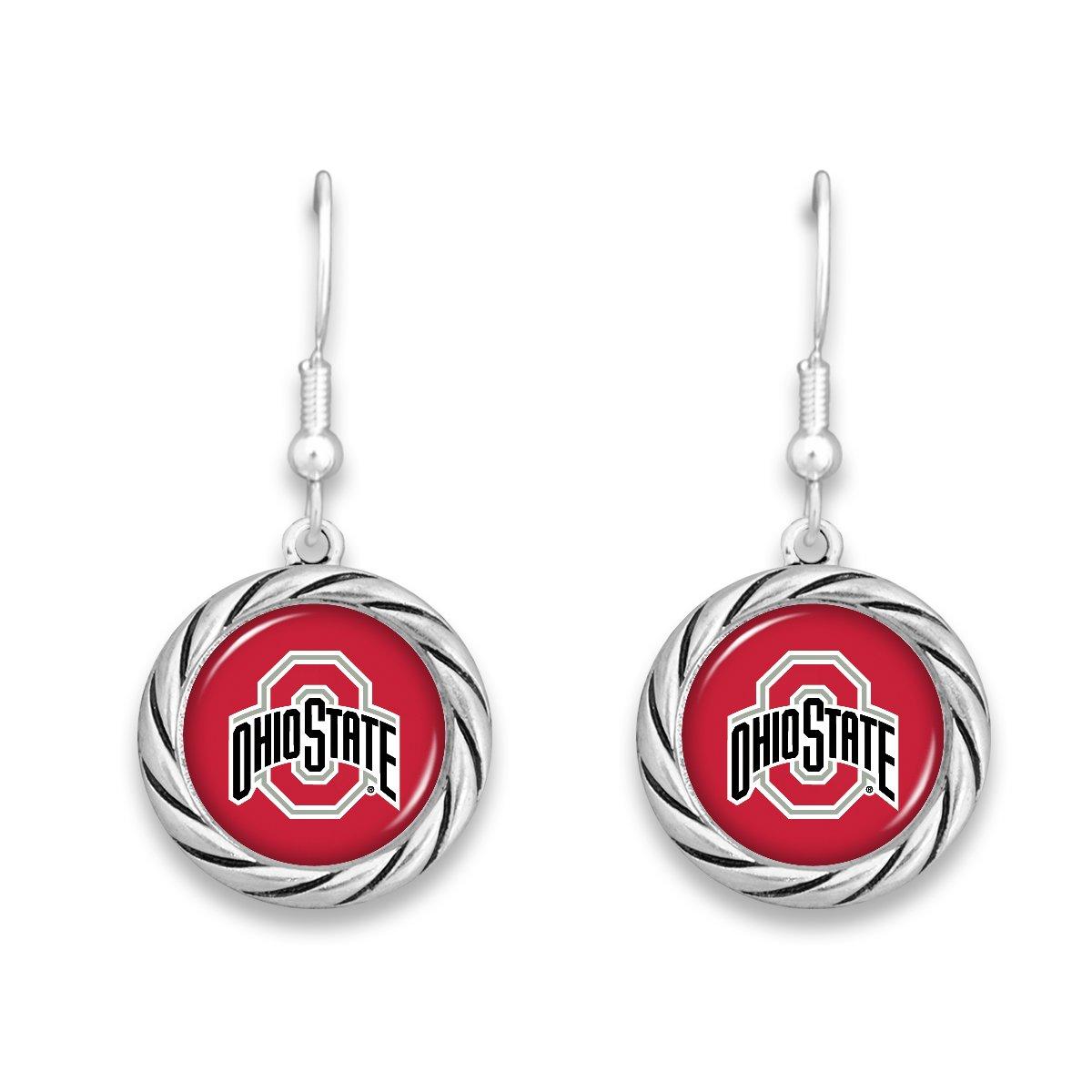 FTH Ohio State Buckeyes Twisted Rope Circle Logo Earrings