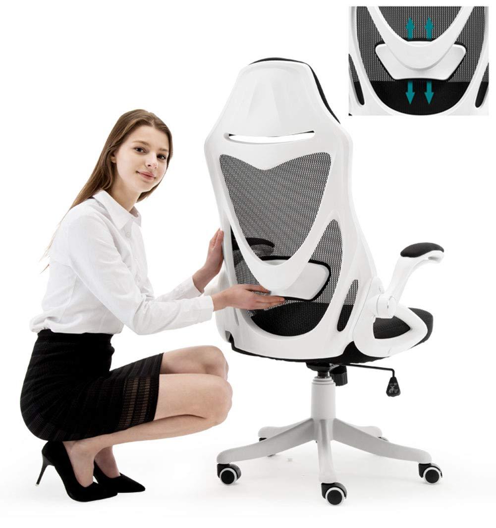 JFSKD Ergonomisk kontorsstol, spelstol, datorstol en del stol rygg, kan lyftas och roteras, tyst och halkfri Svart Vitt