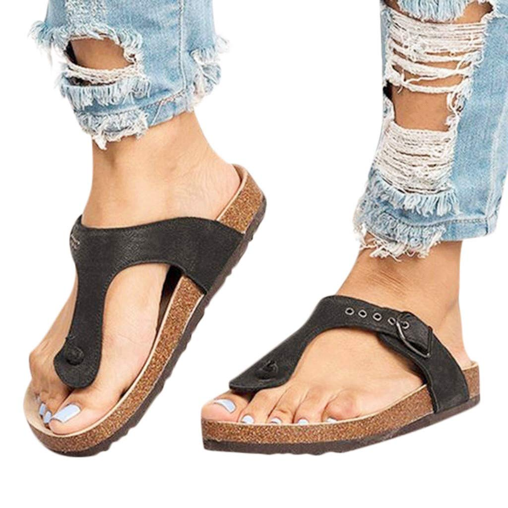 Womens Sandals Bummyo Ladies Sandals Flat Sandals with Wedge Sandals Elastic Band Flat Slider Shoes Casual Shoes 7M US, Beige