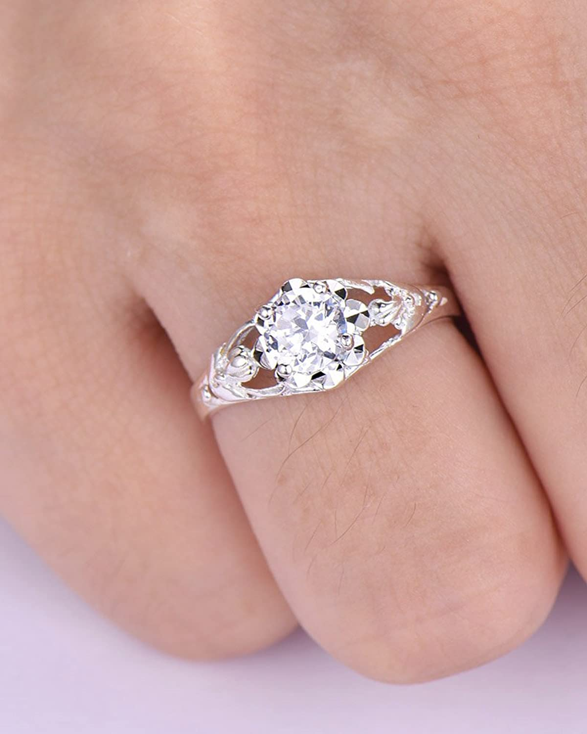 Amazon.com: CZ Cubic Zirconia 925 Sterling Silver Engagement Ring ...