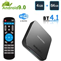 ESHOWEE KM9 TV Box Android 9.0 4GB RAM 64GB ROM Dual-Band WiFi 2.4Ghz & 5Ghz Bluetooth 4.0 4K UHD USB 2.0 & 3.0 CPU Amlogic S905X2 Quad-core ARM Cortex-A53
