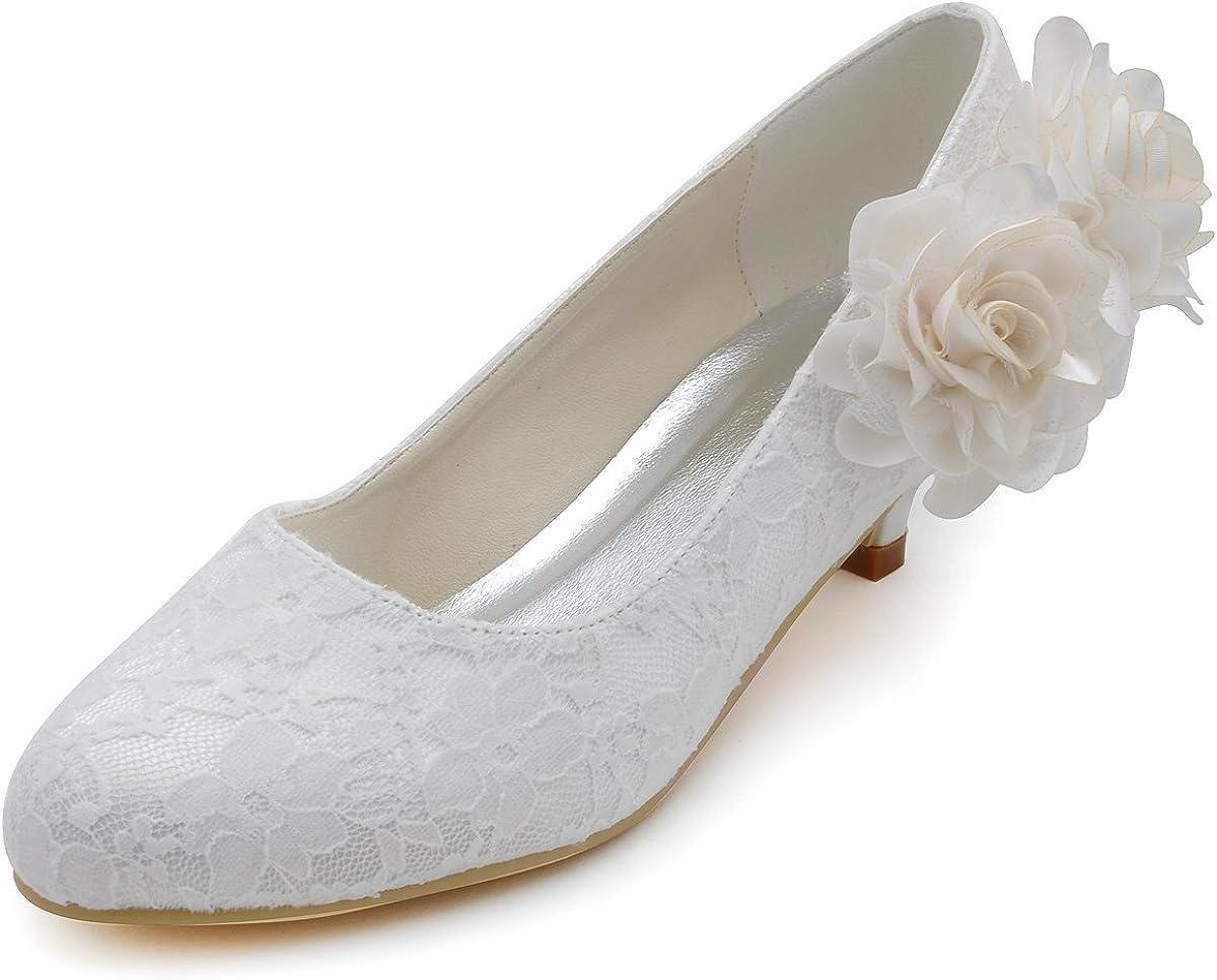 Comfort Low Heel Closed Toe Pumps Lace