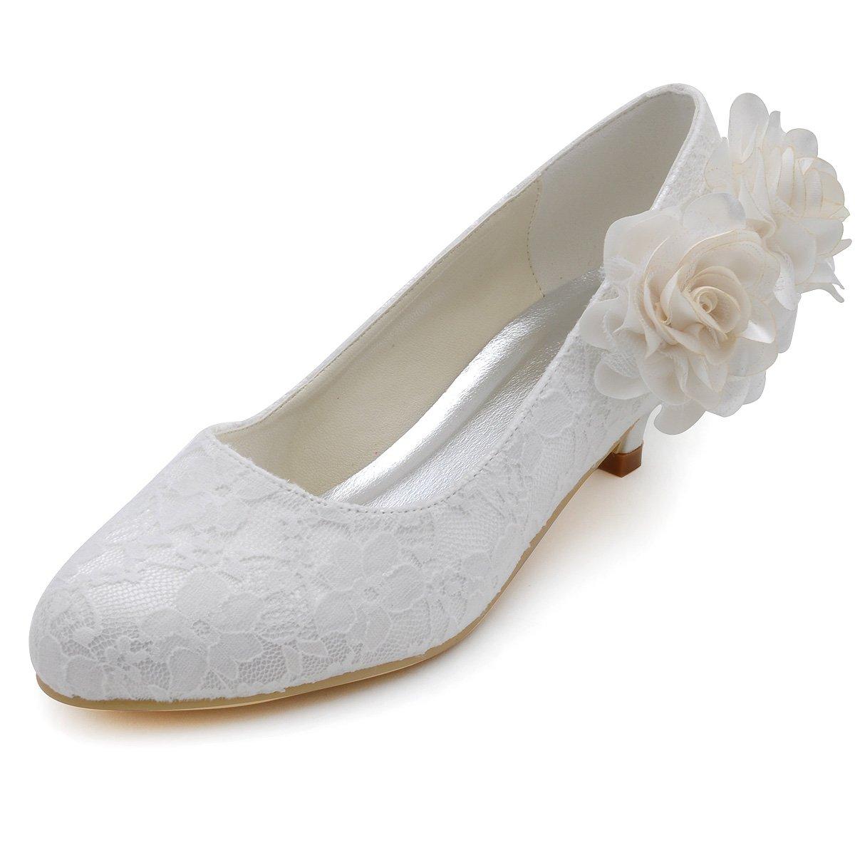 ElegantPark EP2130 Women Low Heel Comfort Closed Toe Flowers Lace Bridal Wedding Shoes Ivory US 10