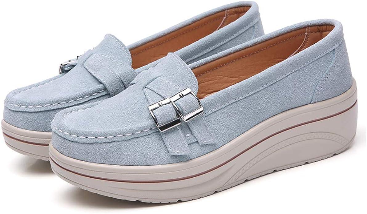 Plataforma de Las Mujeres Zapatos de Gamuza resbalón en los Zapatos de los Holgazanes Sport de Las señoras cómodas con Estilo Top Zapatos para Caminar