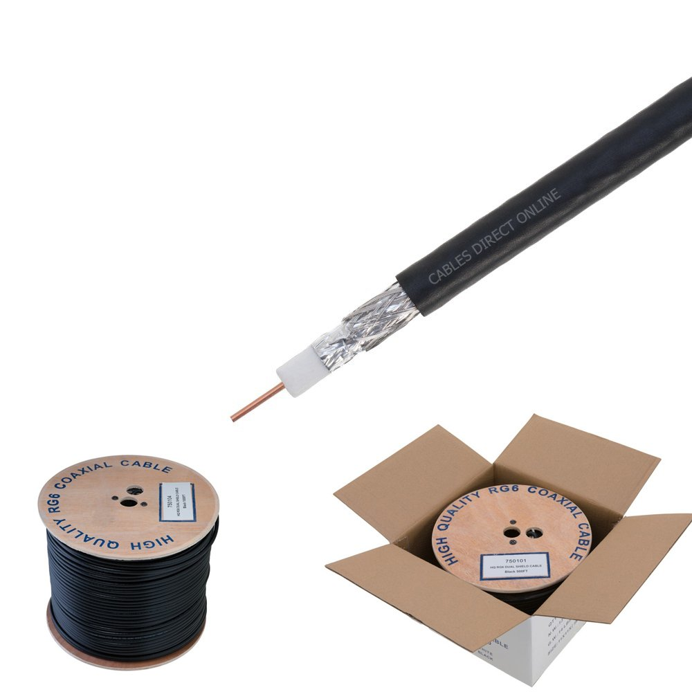 RG6 1000ft Dual Shield Coaxial Cable, 18 AWG Copper Clad Steel Conductor , Foam PE Core, 60% aluminum braid, PVC Jacket, Reel in Box (1000FT, Black)
