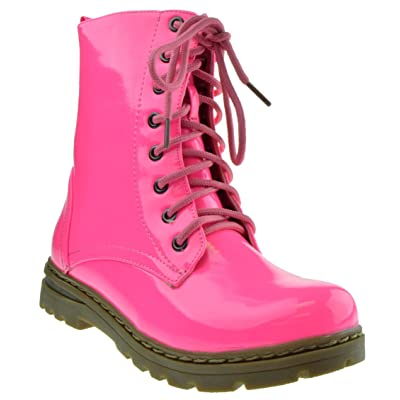 Gwen 01 HI Womens Patent Milatary Lace Up Combat Boots