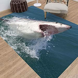 Area Rugs,Jesmacti Rug Multi-Style Modern Interior Decoration Rug,Super Soft and Comfortable Rug, Great White Shark South Africa Suitable for Living Room Bedroom Kindergarten Dormitory (5X7 Feet)