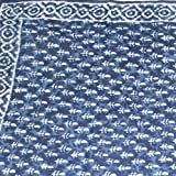 "Dabu Block Print Cotton Scarf - 42"" x 42""- Royal Blue- Gorgeous"