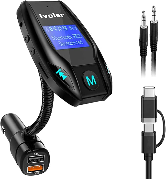 Docooler FM Radio de Coche,Bluetooth Reproductor de m/úsica MP3 Kit de Manos Libres para autom/óvil Reproductor de Audio port/átil Soporte de Radio FM Disco U//Tarjeta TF//Entrada Auxiliar