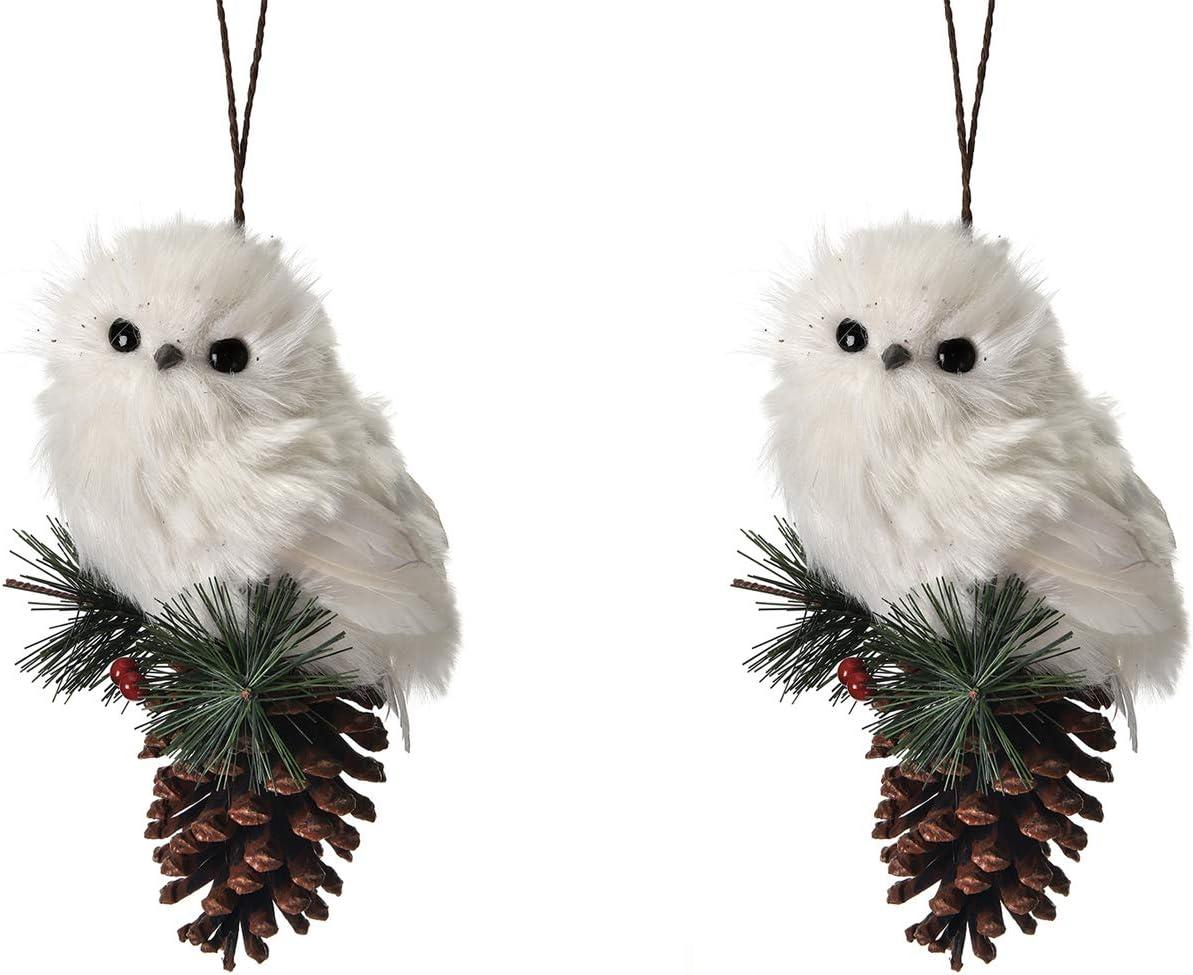 Regency Snow Owl Pine Cone Ornament Set of 2