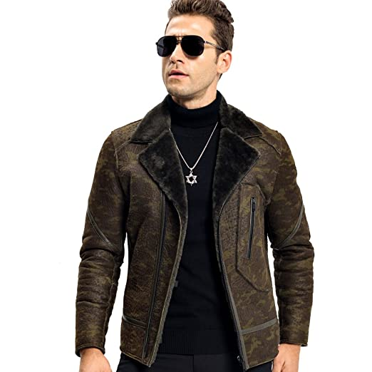 c13731f2f7af LINAILIN Men s Shearling Jacket with Camouflage Pattern Genuine Leather  Motorcycle Jacket at Amazon Men s Clothing store
