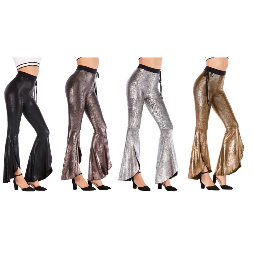 Mujeres Estampado Animal Pantalones Acampanados Palazzo Pantalones de Pierna Ancha Brillantes Metal Pantal/ón De Campana S M L XL XXL XXXL