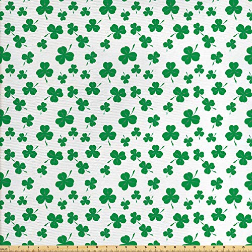 Lunarable Shamrock Fabric by The Yard, St Patrick's Day Pattern Lucky Irish Clover Traditional Holiday Design, Decorative Fabric for Upholstery and Home Accents, 2 Yards, Fern Green and White