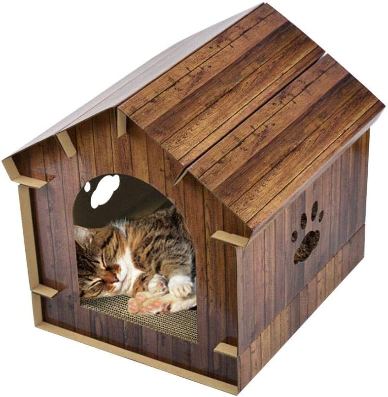 Jannyshop 40.6×40.2×40CM Simulación de Madera Casa de Gato con Tablero del Rasguño del Gato Interior Cómodo Casa para Mascotas y Sofá
