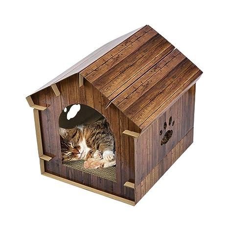 Jannyshop 40.6×40.2×40CM Simulación de Madera Casa de Gato con Tablero del Rasguño