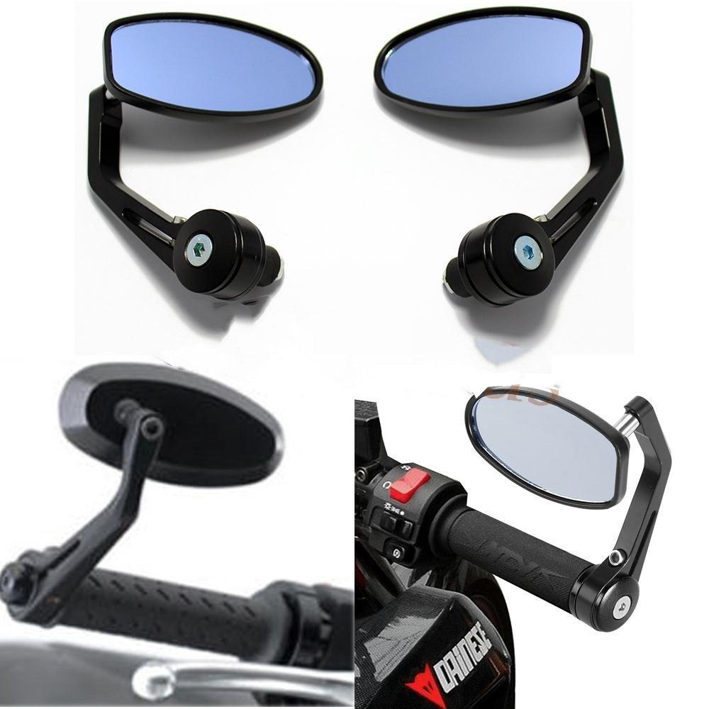 Evomosa Universal Motorcycle 7/8 Handle Bar End Side Mirrors for Honda Cruiser Sport Bikes BMW Ducati Suzuki Yamaha Kawasaki Buell (Black)