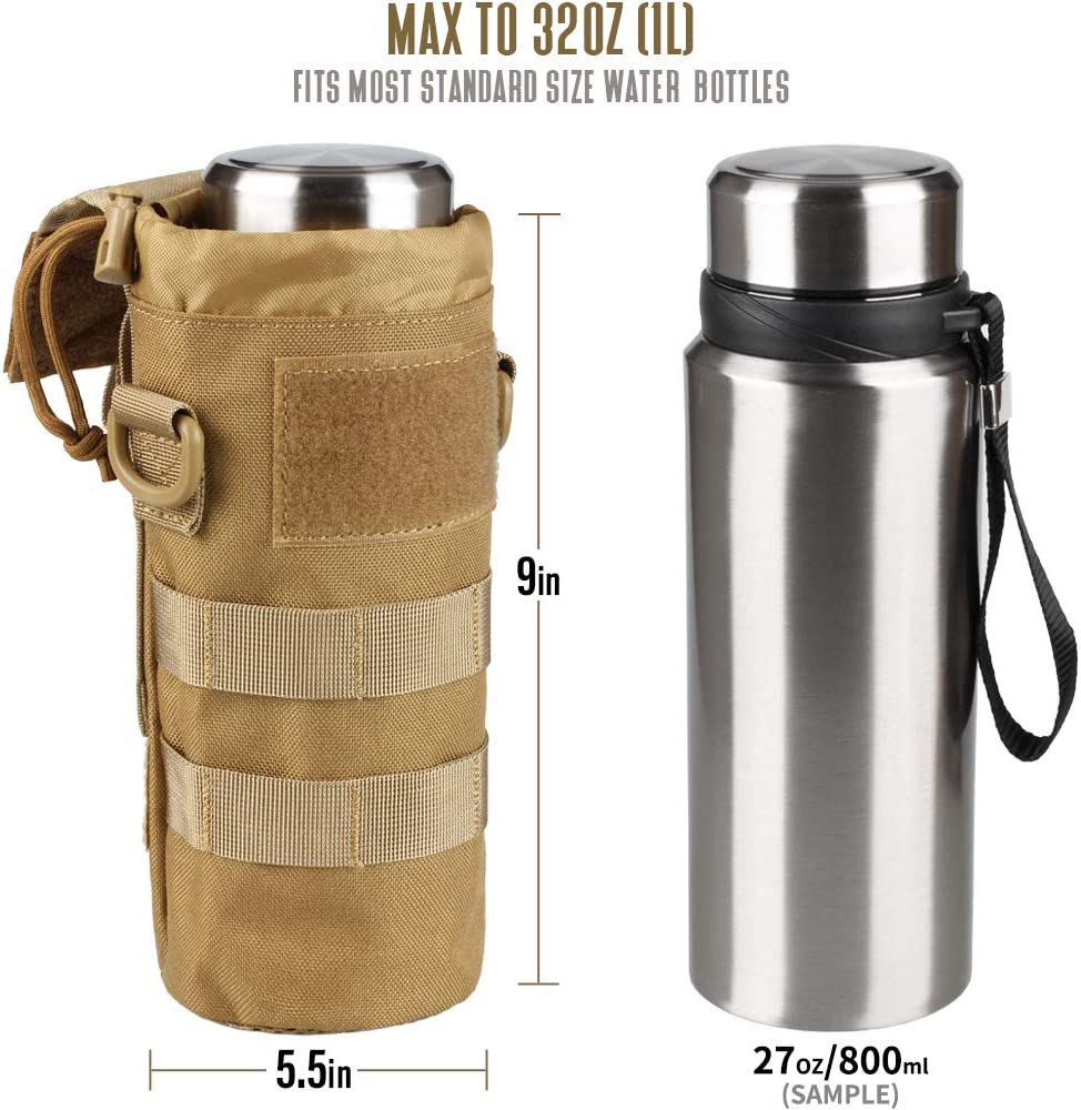 Tan Butterflies Insulated Water Bottle Holder with Adjustable Strap