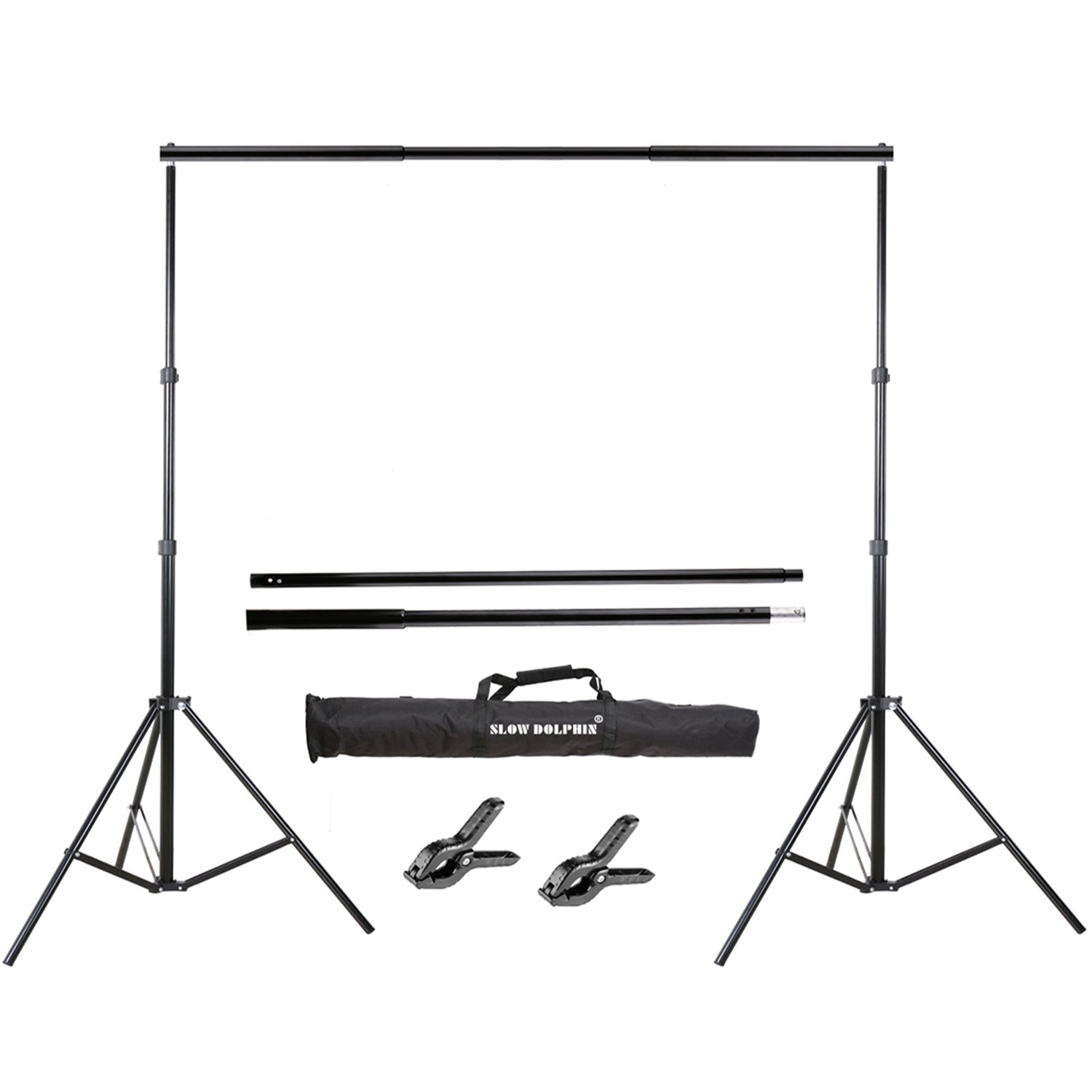 Slow Dolphin Photo Video Studio 10Ft Adjustable Backdrop Support System Light Stands with Background Holder Kit by SLOW DOLPHIN