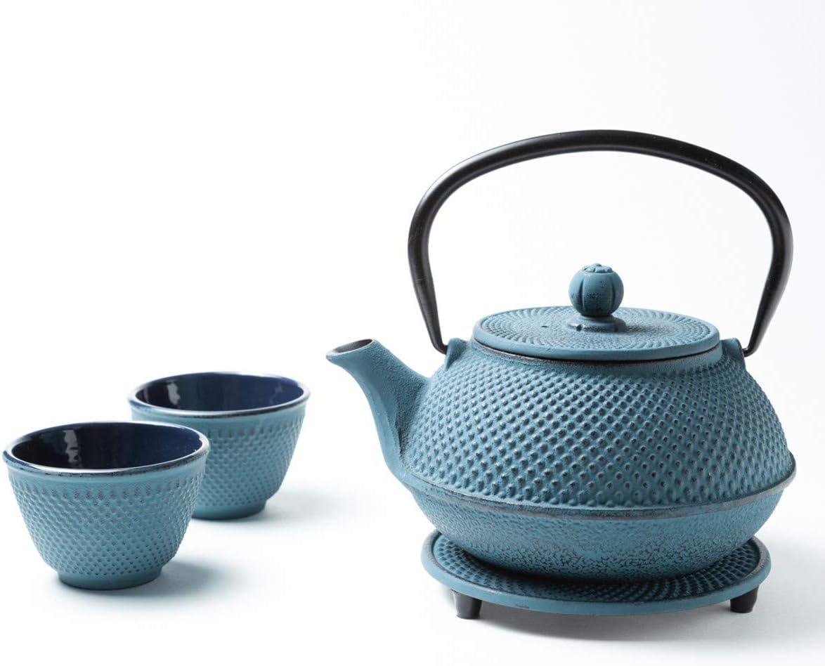 Tealøv Juego completo de tetera de hierro fundido con colador, Tazas de té y platillo - Juego de té de estilo japonés, hierro fundido, Azul, 800 ml