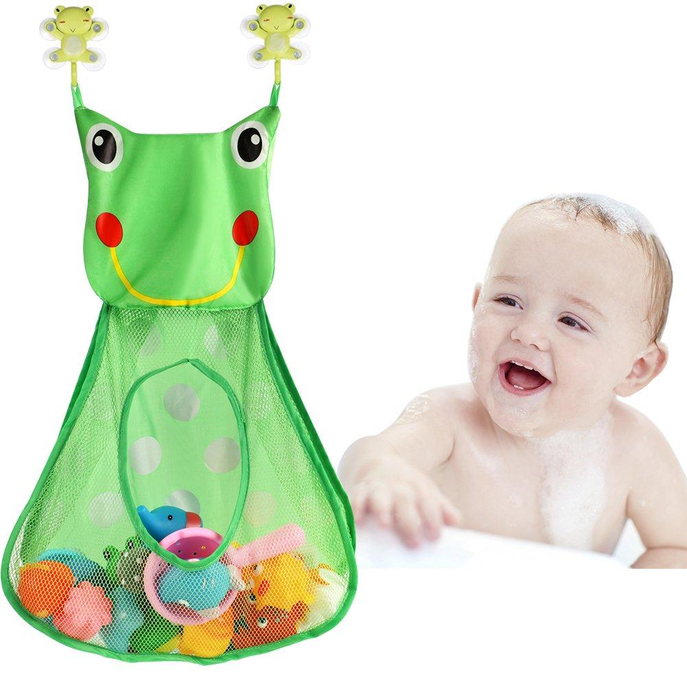 Tacobear Frosch Badewanne Spielzeug Aufbewahrungstasche Badespielzeug Netz Tasche Badezimmer Organizer mit 2 Saugnäpfe (Ohne Spielzeug)