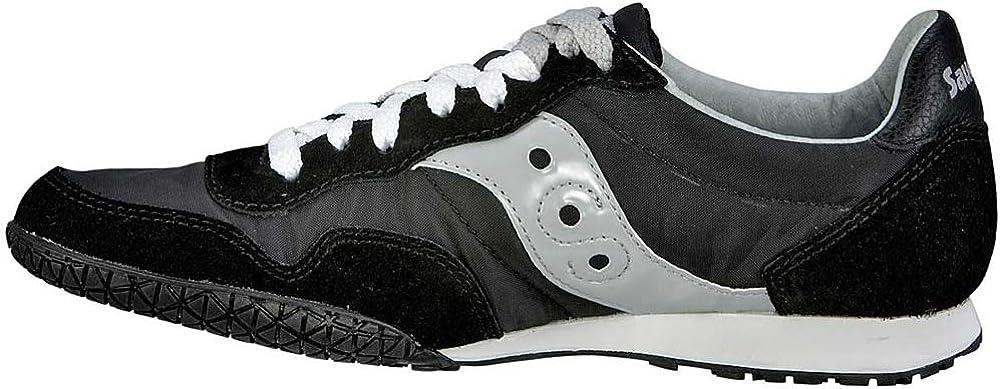 Saucony Originals Women s Bullet Classic Retro Sneaker, Black Silver, 8.5 M US