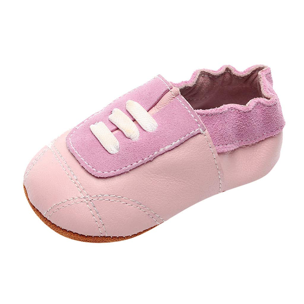 NUWFOR Infant Baby Girl Beach Leather Rome Straps Sole Summer Sandal First Walker Shoes(Pink,0-6Months)