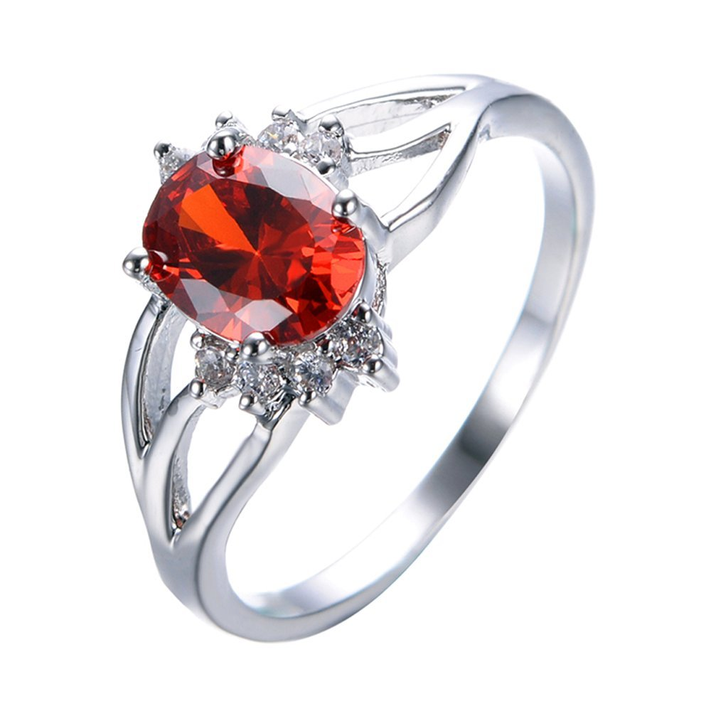 T/&T Jewelry Oval Red Ruby Jewelry Vintage Wedding Ring For Women Rings