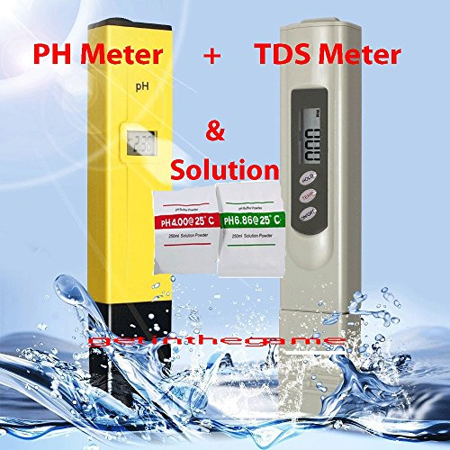 Digital Ph Meter + TDS Tester Aquarium Pool Hydroponic Monitor Water 0-9999 PPM by pH Meters