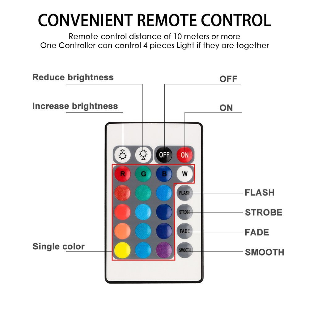 Wedding,Party Battery Powered Water Decoration Lights for Fish Bowl Swimming Pool Waterproof RGB Pond Light Remote Control Submersible LED Lights ZOTO Underwater Light Vase Base,4 Pack