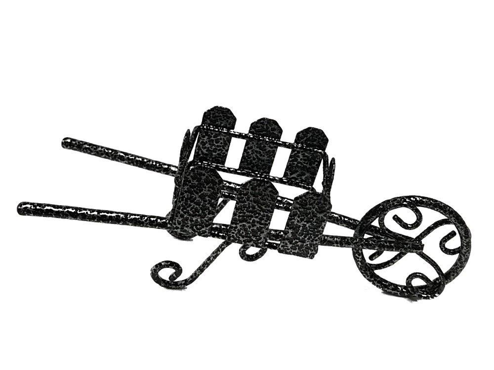Miniature Fairy Garden Metal Wheelbarrow Black and Silver Hammered
