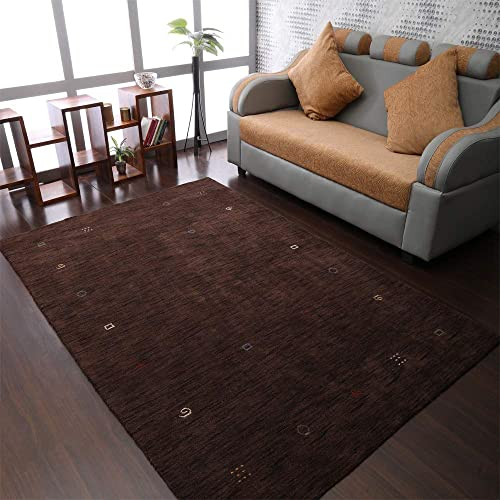 Rugsotic Carpets Hand Knotted Gabbeh Wool 8'x11' Area Rug Contemporary Brown L00103