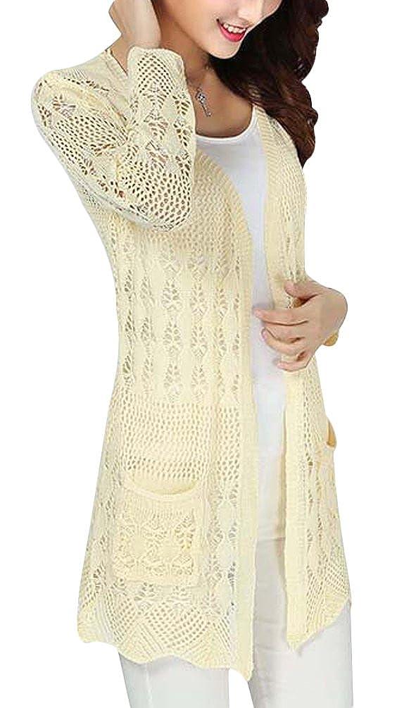 Uwantc Womens Crochet Knitted Open Front Cardigan Long Sleeve Pocket