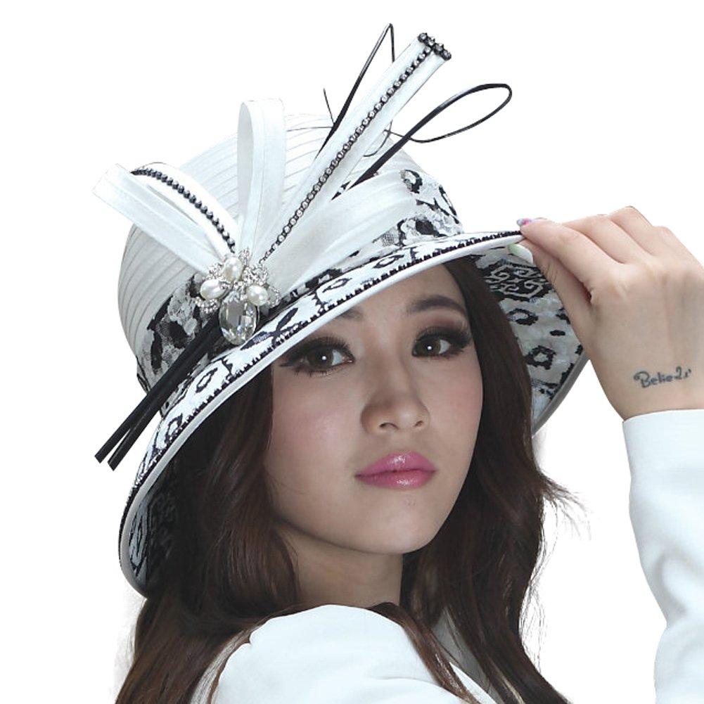 June's Young Women Hat Dress Hat Ladies' Church Hat Lace Brim White