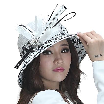 June s Young Women Hat Dress Hat Ladies  Church Hat Lace Brim White at  Amazon Women s Clothing store  7bcc59552ea