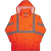 High Visibility Reflective Lightweight Rain Jacket, Orange, Small, ANSI Compliant, Ergodyne GloWear 8366