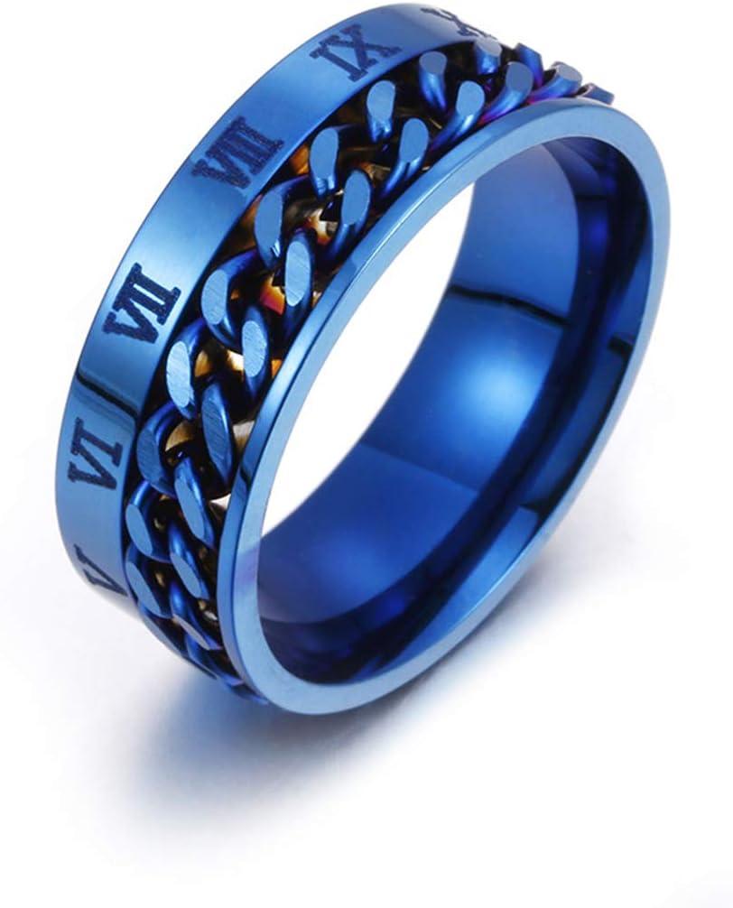 JIACUO EDC Finger Fidget Spinner Stainless Steel Chain Rotatable Ring Men Classical Rome Digital Power Sense Gift 6