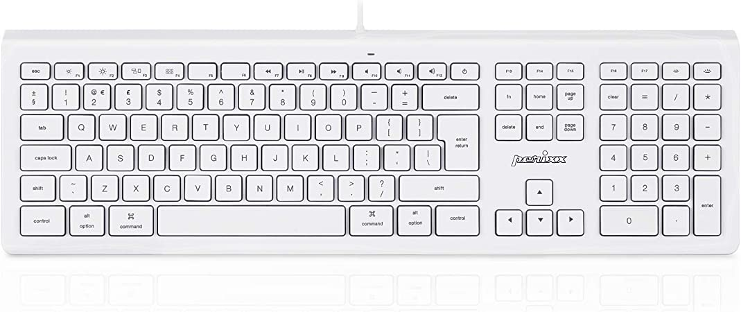 Perixx PERIBOARD-323 Teclado retroiluminado con cable silencioso, compatible con teclado Mac Os X Apple iMac, LED blanco, diseño del Reino Unido